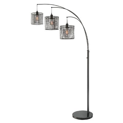Silver 3 light arc floor lamp rc willey furniture store black 3 light arch floor lamp with mesh metal shades aloadofball Choice Image