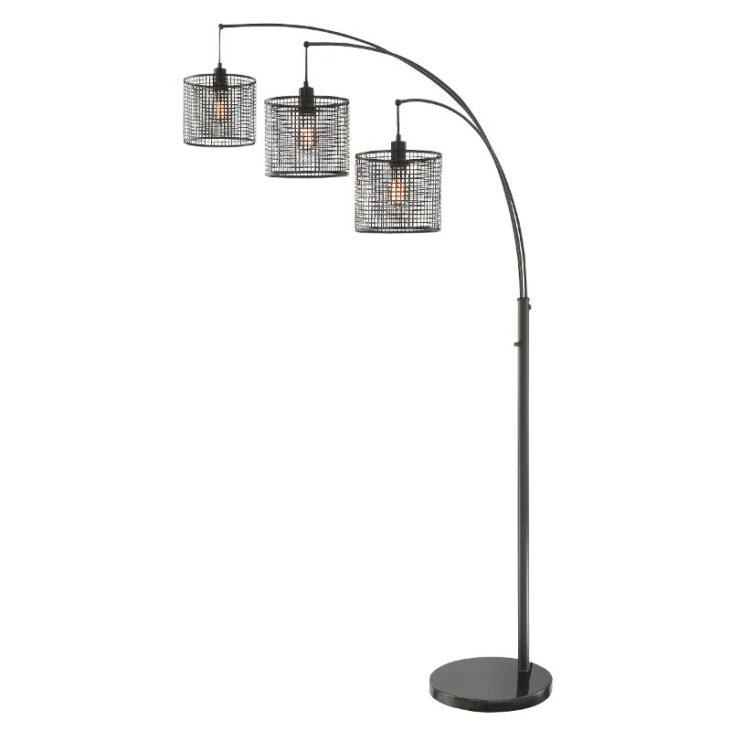 Black 3 Light Arch Floor Lamp With Mesh Metal Shades