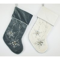 Assorted Velvet Stocking with Silver Bead/Jewel Design
