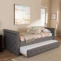 7040-RCW Modern Gray Tufted Twin Daybed - Swamson