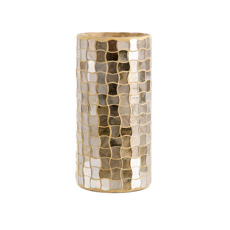 Elegant and graceful, this hurricane from RC Willey is finished in a beautiful gold mosaic. Perfect for your holiday or everyday decor, this accessory is sure to add sophistication to your home.