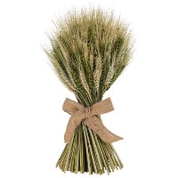 16 Inch Wheat Stack with Green Cycas Leaf with a Jute Bow