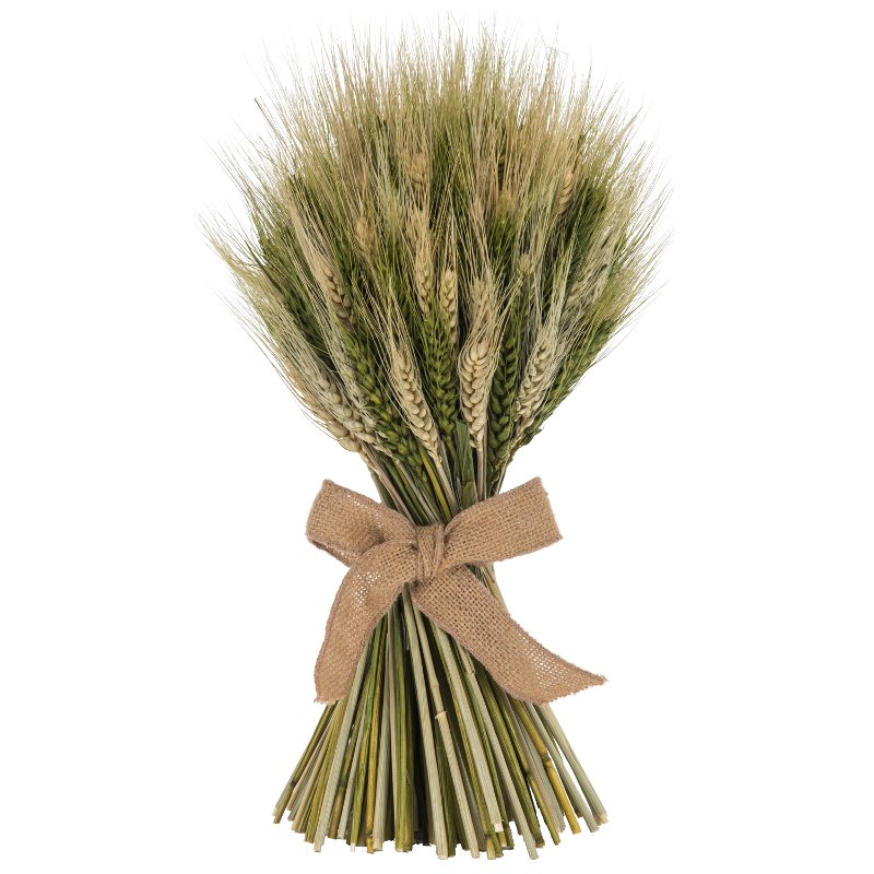 16 inch wheat stack with green cycas leaf with a jute bow rcwilley image1~800