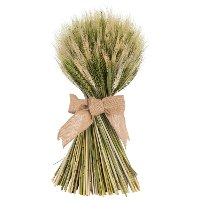 13 Inch Wheat Stack with Green Cycas Leaf with a Jute Bow