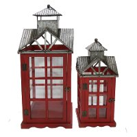 19 Inch Red Wood and Metal Lantern with Tin Roof