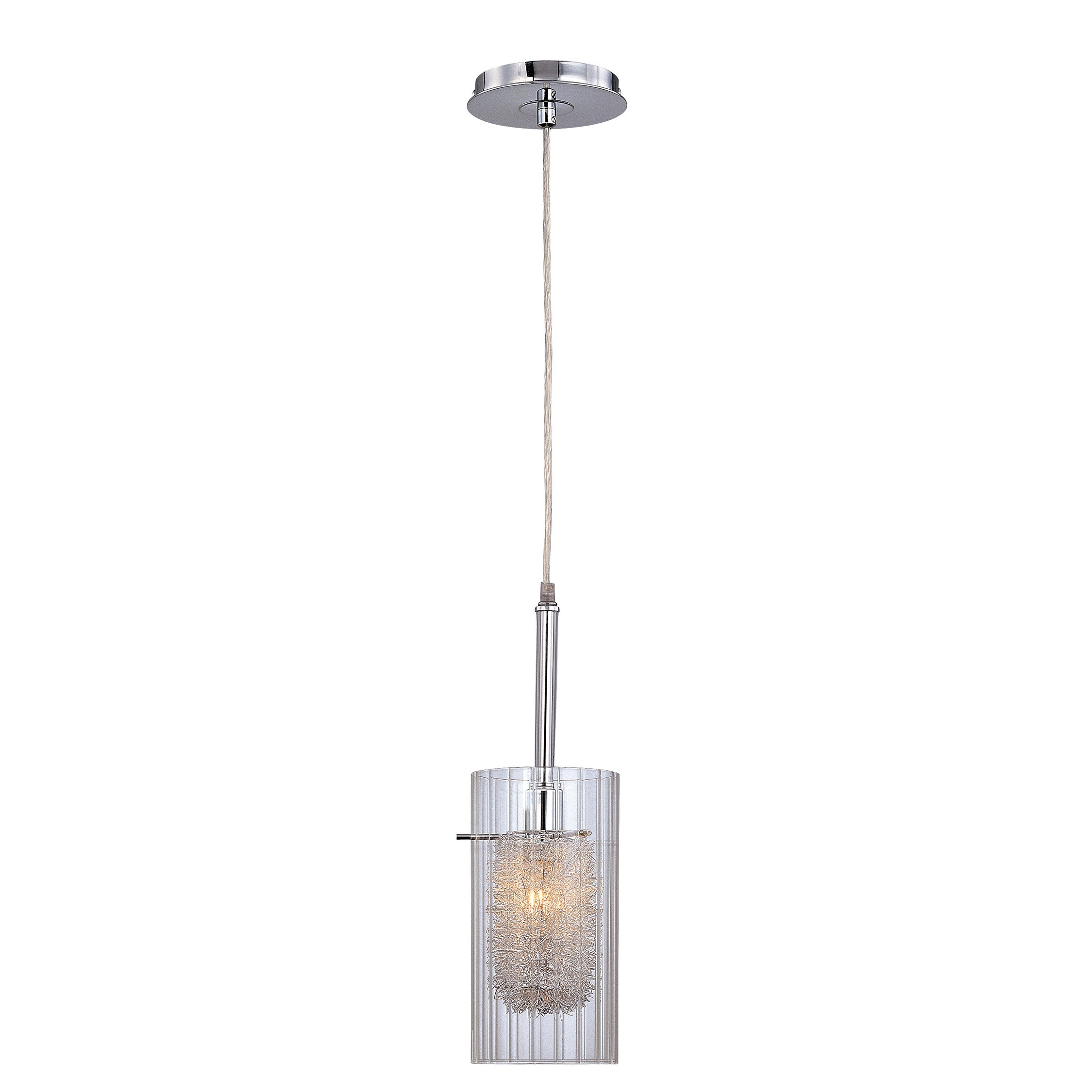 Add interest to any room with this creatively designed pendant lamp. This 1 light Pendant from the Caldwell collection by Lite Source will enhance your home with a perfect mix of form and function. The features include a Chrome finish applied by experts. Available for Online Purchase Only. Not eligible for 5 Star Express Delivery. Includes (1) 40 watt candelabra (E12) bulb Hardwiring and assembly required UL listed Cylinder slit glass shade Designed to cast a soft ambient light over a wide area