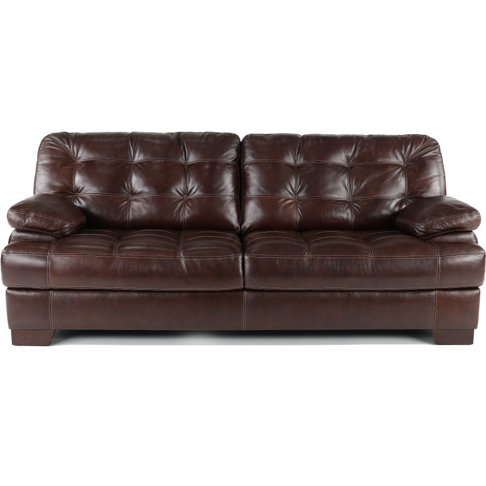 Contemporary Walnut Brown Leather Sofa Amarillo