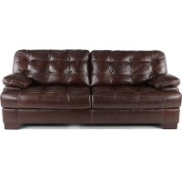 Contemporary Walnut Brown Leather Sofa - Amarillo
