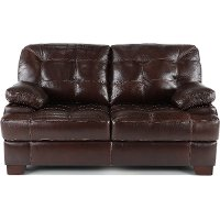 Contemporary Walnut Brown Leather Loveseat - Amarillo