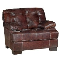 Contemporary Walnut Brown Leather Chair - Amarillo