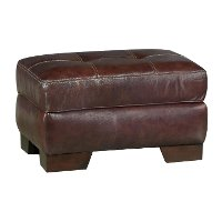 Contemporary Walnut Brown Leather Ottoman - Amarillo