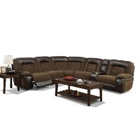 Brown 6 Piece Power Reclining Sectional Sofa - Helen