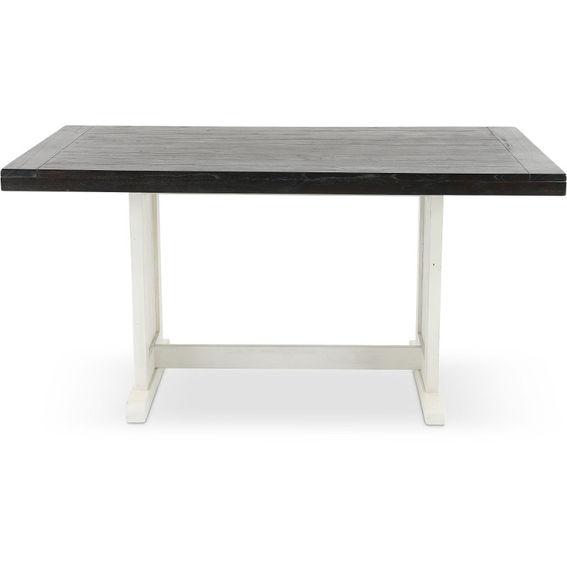 French County White Two Tone Trestle Dining Table Bourbon