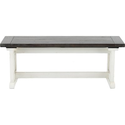 French Country White Two-Tone Side Dining Bench - Bourbon County