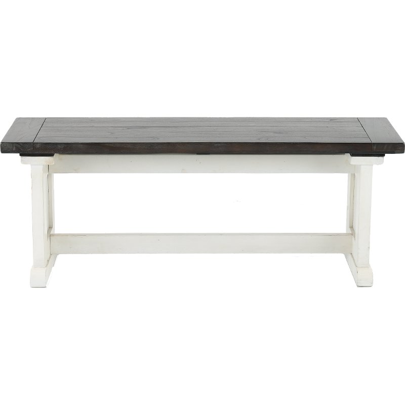 White Two Tone Side Dining Bench