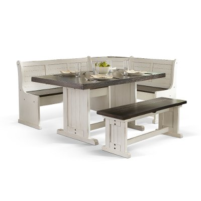 corner piece of furniture. Two-Tone French Country 4 Piece Corner Dining Nook - Bourbon County Collection Of Furniture