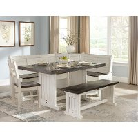 Two-Tone French Country 5 Piece Corner Dining Nook - Bourbon County Collection