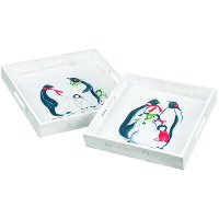 Multi Color 11 Inch Penguin Tray with Cut Out Handles