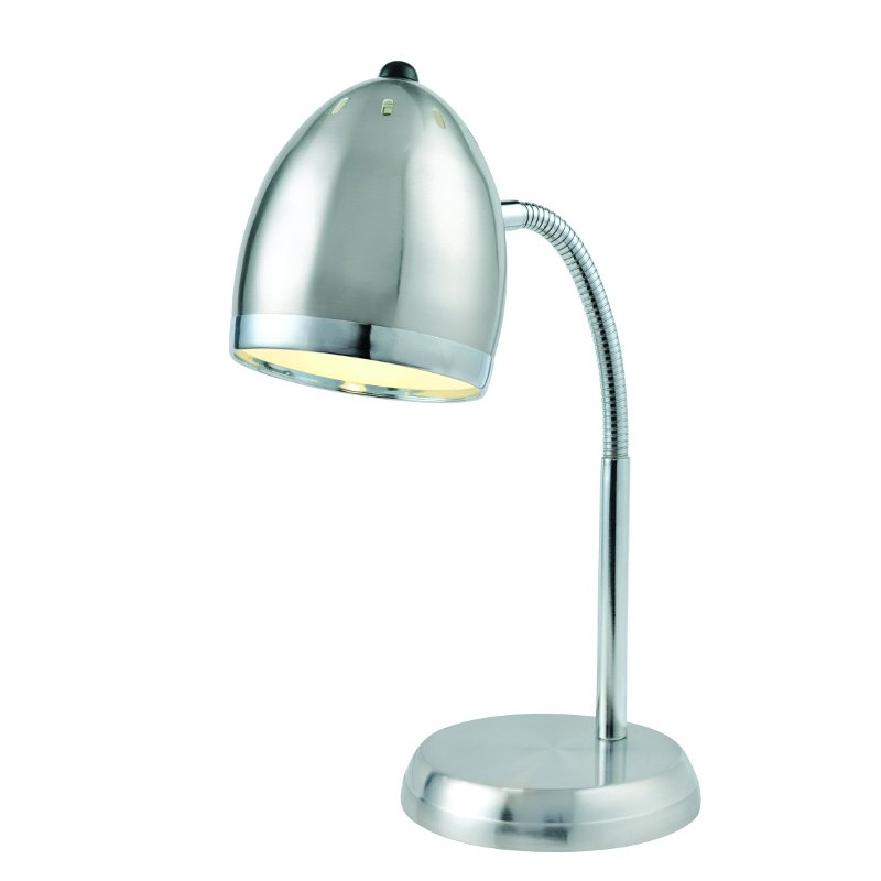 Silver and Chrome Gooseneck Desk Lamp - Zachery