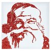 18 Inch Red Glittered Santa Canvas Wall Art
