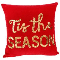 Red Tis the Season Throw Pillow with Sequins