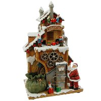 Resin Animated Musical Santa Factory with Elves