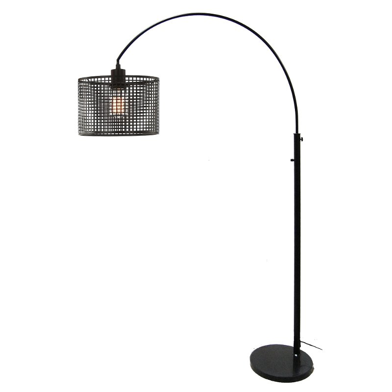 Black Arch Contemporary Floor Lamp with Mesh Metal Shade