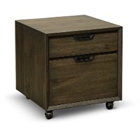 Fossil Brown 2 Drawer Rolling File Cabinet- Harper Point