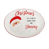 80173 White and Red Seasons of Giving Santa Cookie Platter