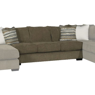 Chocolate Brown 3 Piece Sectional Sofa with RAF Chaise ...