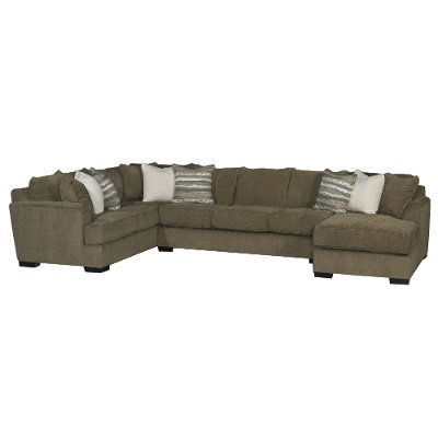 Chocolate Brown Casual Contemporary 3 Piece Sectional   Tranquility