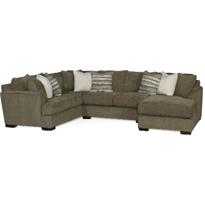 Chocolate Brown Contemporary 3 Piece Sectional Sofa Tranquility