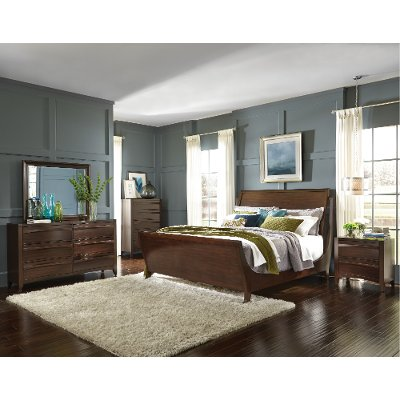 4 piece queen bed set bevelle 6 bedroom hudson 7 storage cherry contemporary contour