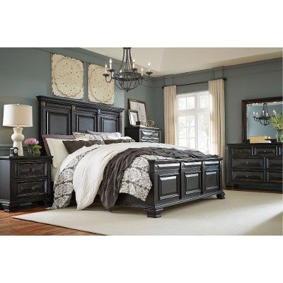 Nice Black Traditional 6 Piece King Bedroom Set   Passages