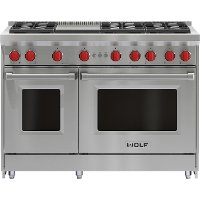 GR486G-LP Wolf 48 Inch Six Burner LP Gas Range with Griddle - Stainless Steel