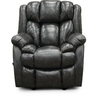 Starry Charcoal Gray Leather-Match Rocker Recliner - Renegade