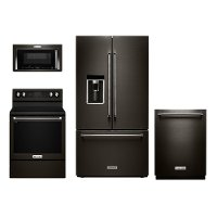 KIT KitchenAid 4 Piece Kitchen Appliance Package with Electric Range - Black Stainless Steel