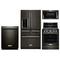 KIT KitchenAid 4 Piece Kitchen Appliance Package with Gas Range and 5 door Refrigerator - Black Stainless Steel