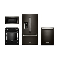 KIT KitchenAid 4 Piece Kitchen Appliance Packages with Electric Range - Black Stainless Steel