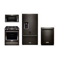 KIT KitchenAid Black Stainless Steel 4 Piece Kitchen Appliance Package with Gas Range