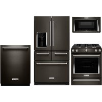 KIT KitchenAid 4 Piece Kitchen Appliance Package with 5.8 cu. ft. Gas Range - Black Stainless Steel