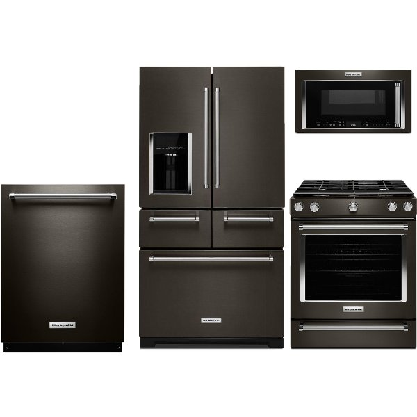 Superieur ... KIT KitchenAid 4 Piece Kitchen Appliance Package With Gas Range   Black  Stainless Steel