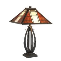 Dark Bronze Mica Shade Table Lamp - Halden