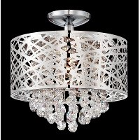 14 Inch Wide Cut Crystal Ceiling Light - Benedetta