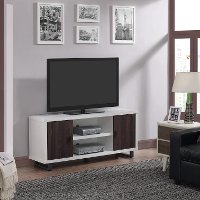 60 Inch White and Walnut TV Stand