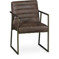 Brown Guest Chair with Brass Metal Frame