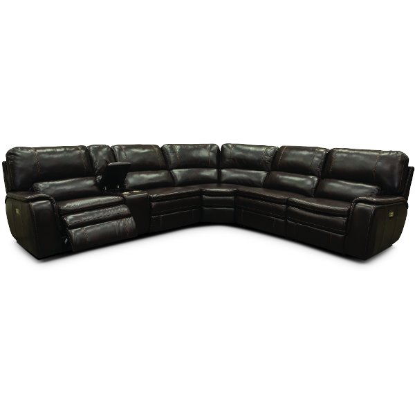 ... Brown 6 Piece Power Reclining Sectional Sofa   Casey