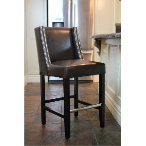 hd81682 brown leather counter height stool tina collection