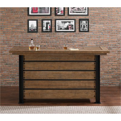 Natural and Metal Reclaimed Wood Bar - Gateway Collection  RC