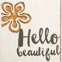 Pierced Wood Hello Beautiful Sentiment Wall Art